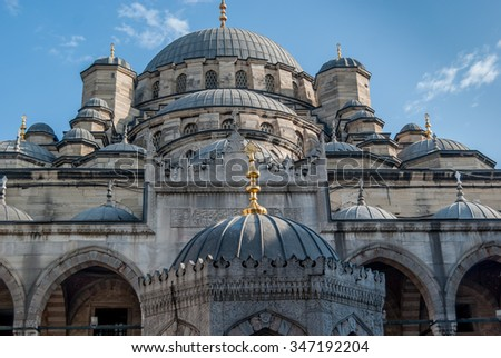 The Yeni Cami, meaning New Mosque; originally named the Valide Sultan Mosque and later New Valide Sultan Mosque after its partial reconstruction and completion between 1660 and 1665. Eminonu district  - stock photo