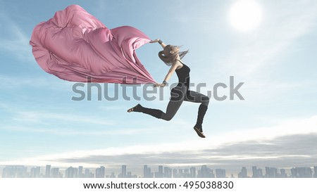 The young ballerina flying over a city holding a pink cloth . This is a 3d render illustration