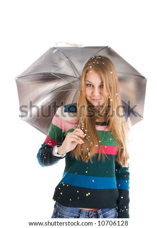 The young beautiful girl with a umbrella isolated on a white background