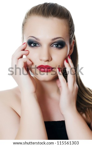 The young beautiful girl with Evening make-up