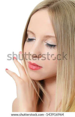 The young beautiful girl with natural make-up - stock photo
