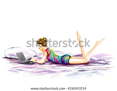 The young beautiful glamour woman has a rest in her room. Girl lies on a bed and watches the movie on the computer laptop. Digital watercolor drawing imitation. - stock photo