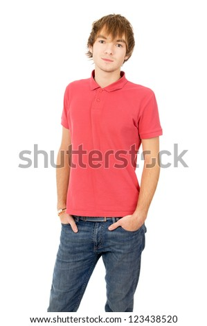 the young boy poses for the camera isolated on white background