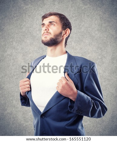 The young businessman in movement to the purpose - stock photo