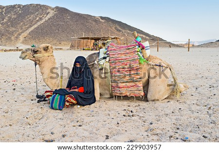 The young cameleer and her camel sit on the sand and enjoy the evening after the long hot day, Sahara, Egypt.