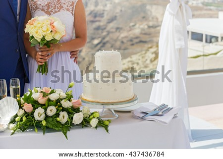 The young couple and flowers wedding decorations