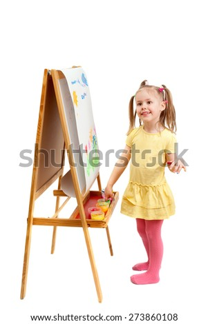 The young fingers artist at drawing easel, isolated on white background - stock photo