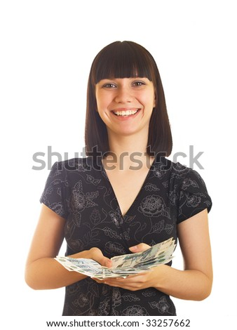 The young girl holds in hands Russian money for a white background - stock photo