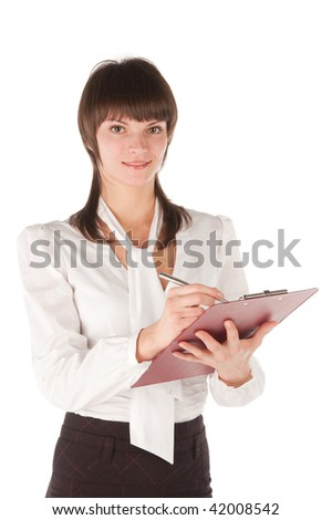 The young girl in white blouse with tablet for papers. Isolated. White background