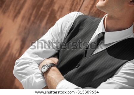 the young groom in the wedding day - stock photo