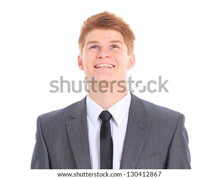 The young handsome businessman isolated on a white background.