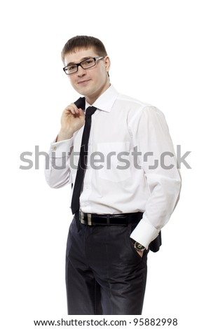 The young man in a tie costs on a white background