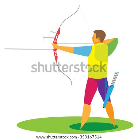 the young man is an archer in competition