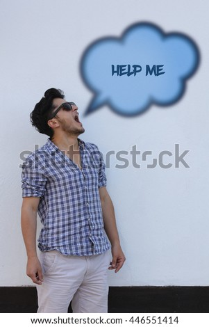 The young man says in the speech bubble from his mouth Help Me. - stock photo