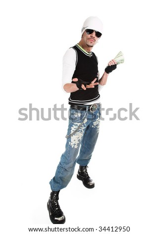 The young man with money to a white background