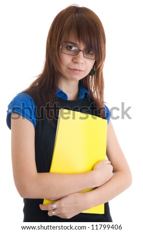 The young secretary isolated on a white background