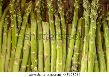the young shoots of asparagus seasoned with olive oil before placing in the oven - stock photo