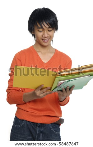 The young student isolated on a white - stock photo