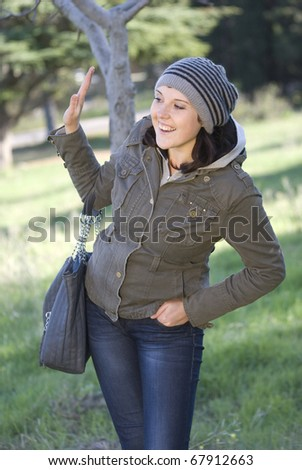 The young woman gesticulates a hand - stock photo