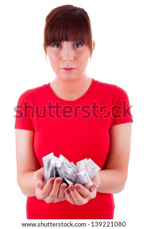 The young woman prevents with condoms - stock photo