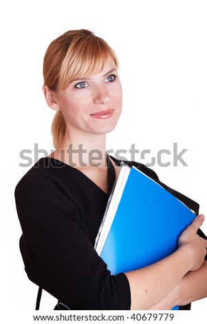 the young woman with folder for documents on white background