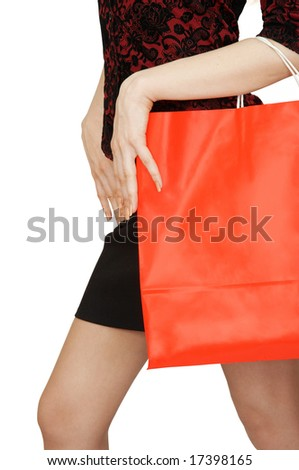 The young woman with shopping bag - stock photo