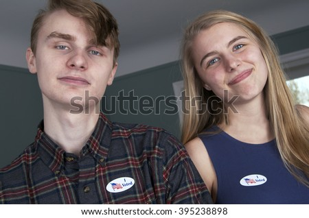 "The Youngest Voters Wearing ""I Voted"" Stickers"