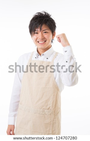 The youth who cooks with an apron figure