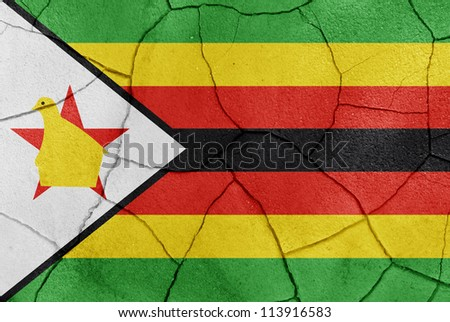 The Zimbabwe flag painted on a cracked desert ground surface