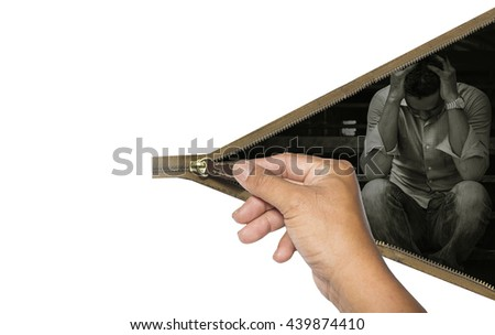The zippers are used to close or change the sadness, stress or distress./made to the concept - stock photo