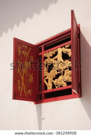 Thean Hou temple complex, Kuala Lumpur, Malaysia - March 18, 2007 : One of the typical chinese windows of the temple.