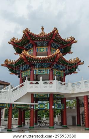 Thean Hou Temple in Kuala Lumpur, Malaysia The Thean Hou Temple is a landmark six-tiered Chinese temple in Kuala Lumpur. - stock photo