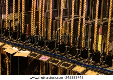 Theater Backstage Curtain Ropes and Levers Mechanical System - stock photo