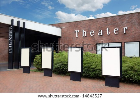 Theater Building with Blank Advertising Columns