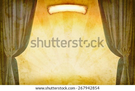 Theater concept with old banner for art design of theatrical retro poster. Vintage background with theater on grunge texture of paper. Theater decoration for art background with copy-space for text. - stock photo
