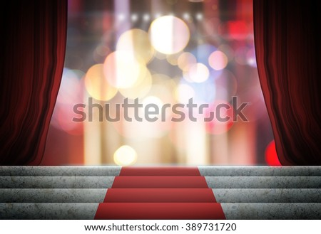 Theater curtain and stage  - stock photo