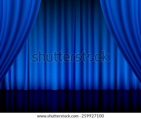 theater curtain blue illustration.