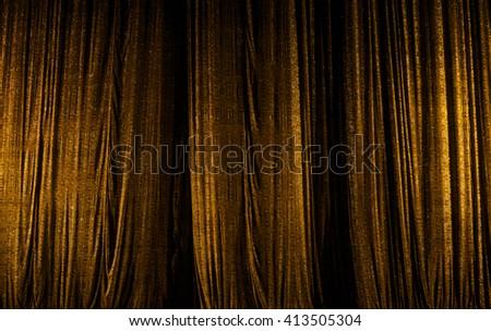 theater curtain scene, gold - stock photo