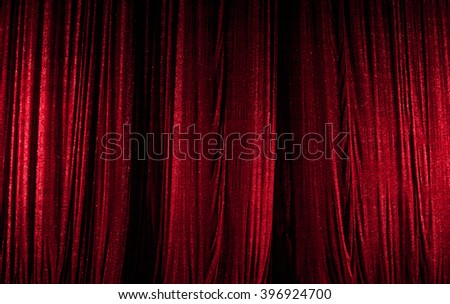 theater curtain scene, red - stock photo