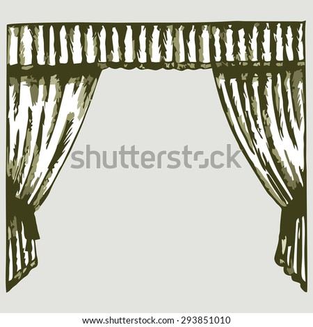 Theater curtain. Shades of green and yellow. Raster version - stock photo