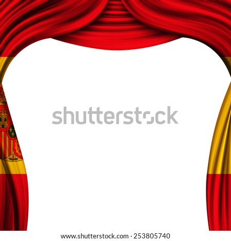 theater curtain  with the flag of the Spain - stock photo