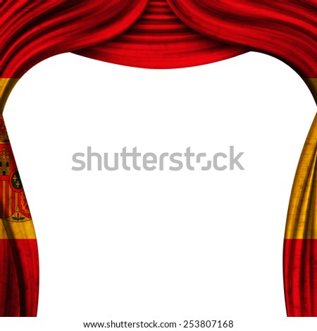 theater grunge curtain  with the flag of the Spain - stock photo