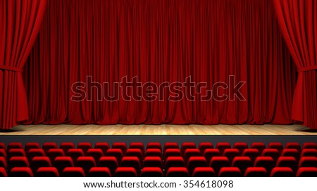 Theater interior with red curtains and seats