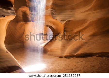 Theater of Light Performing in One of The Caves of the Unique Antelope Canyon in Arizona State, United States of America. Horizontal Image