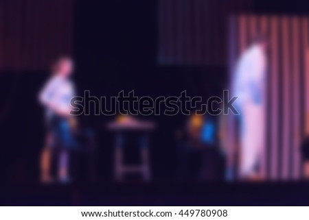 Theater play theme creative abstract blur background with bokeh effect - stock photo