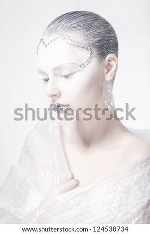 Theater. Profile of Woman Face - Creative Carnival Makeup. Surrealism - stock photo