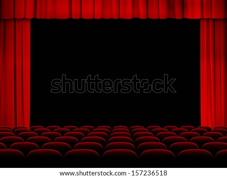 theater red auditorium with stage, curtains and seats - stock photo