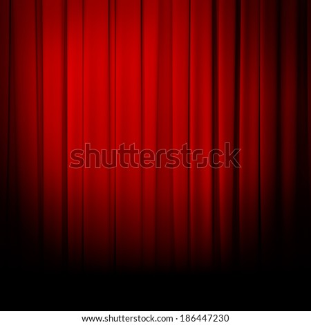 theater red curtain spotlight - stock photo