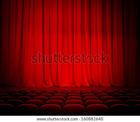 theater red curtains and seats - stock photo