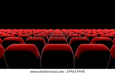 Theater seats in front of black screen with clipping path.